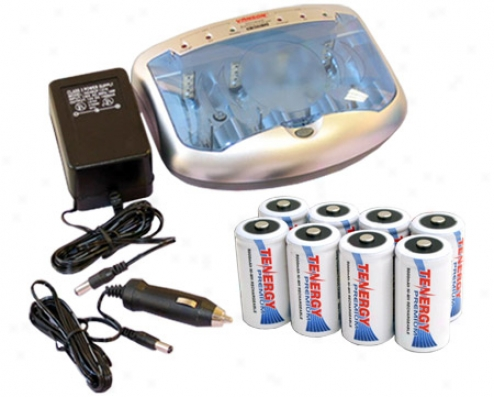 Combo: Tenergy T-2299 Universal Smart Charger + 8 Premium C 5000mah Nimh Rechargeable Batteries