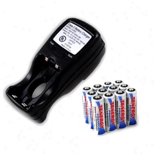 Combo: Tenergy T-2833 Aa/aaa Nimh Charger + 12 Premium Aa 2500mah Rechafgeable Batteries