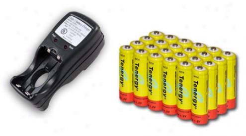 Combo: Tenergy T-2833 Aa/aaa Nimh Charger +  24 Aa 1000mah Nicd Batteries