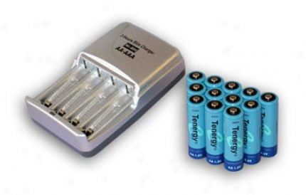 Combo: Tenergy T-3150 Smart Aa/aaa Nimh/nicd Battery Charger + 12 Aa 2600mah Nimh Rechargeable Batteries