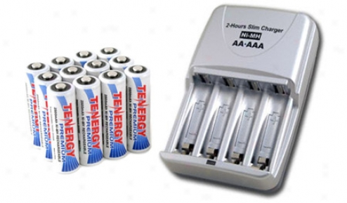 Combo: Tenergy T-3150 Smart Aa/aaa Nimh/nicd Battery Charger + 12 Premium Aa 2500mah Nimh Rechargeable Batteries