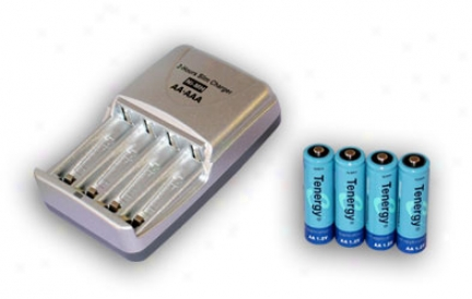 Combo: Tenergy T-3150 Smart Aa/aaa Nimh/nicd Battery Charger + 4 Aa 2600mah Nimh Rechargeable Batteries