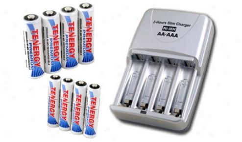 Combo: Tenergy T-3150 Smart Az/aaa Nimh/nicd Battery Charger + 4 Aa & 4 Aaa Premium Nimh Rechargeable Batteries