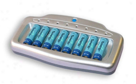 Combo: Tenergy T-6280 Smart 8-bay Aa/aaa Nimh Battery Charger + 8 Aa 2600mah Nimh Batteries