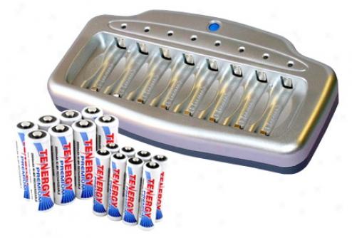 Combo: Tenergy T-6280 Smart 8-ay Aa/aaa Nimh/nicd Battery Charger + 8 Aa & 8 Aaa Premium Nimh Batteries