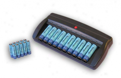 Combo: Tenergy T-6988 Smart 10-bay Nimh Battery Charger + 10 Aa 2600mah &1 0 Aaa 1000mah Nimh Batteries