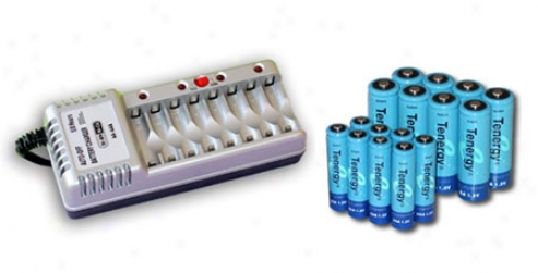 Combo: Tenergy T868 8-bay Aa/aaa Battery Charger + 8 Aa 2600& 8 Aaa 1000mah Batteries