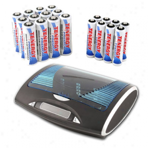 Combo: Tenergy T9688 Universal Lcd Battery Charger + 12 Aa & 8 Aaa Premium Nimh Rechargeable Batteries