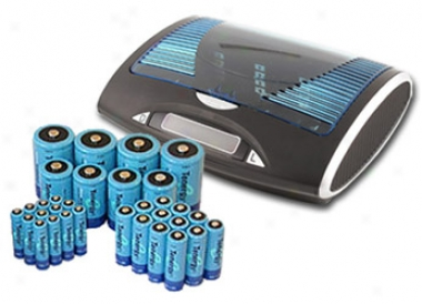 Combo: Tenergy T9688 Universal Lcd Battery Charger + 32 Nimh Rechargeable Batteries (12aa/12aaa/4c/4d)