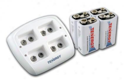 Combo: Tenergy Tn136 4-bay 9v Smart Charger + 4pcs Premium 9v 200mah Nimh Rechargeable Batteries