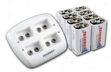 Combo: Tenerg Tn136 4-bay 9v Smart Charger + 8pcs Premium 9v 200mah Nimh Rechargeable Batteries