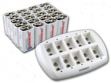 Combo: Tenergy Tn137 10-bay 9v Smart Charger + 20pcs Premium 9v 200mah Nimh Rechargeable Batteries