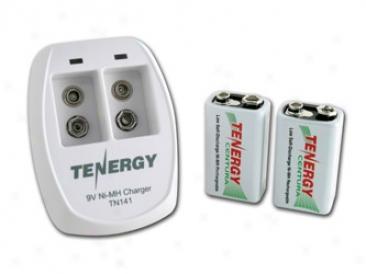 Combo: Tenergy Tn141 2-bay 9v Charger + 2pcs Centura 9v 200mah (lsd) Nimh Rechargeable Batteries