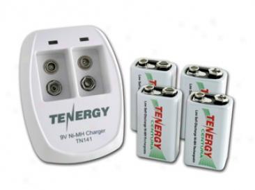 Combo: Tenergy Tn141 2-bay 9v Charger + 4pcs Centura 9v 200mah (lsd) Njmh Rechargeable Batteries