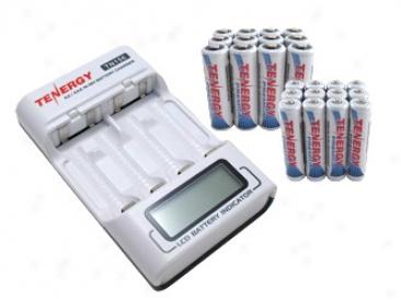 Combo: Tenergy Tn156 4-bay Aa/aaa Nimh Lcd Battery Chargrr + 24pcs Premium Aa & Aaa Batteries W/ Holders (12aa & 12aaa)