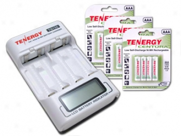Combo: Tenergy Tn156 4-bay Aa/aaa Nimh Lcd Battery Charger + 3 Cards Centura Aaa Batteries (12pcs)