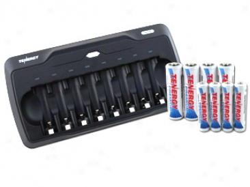Combo: Tn157 8-bay Aa/aaa Nimh Battery Charger + 4 Aa & 4 Aaa Premium Batteries