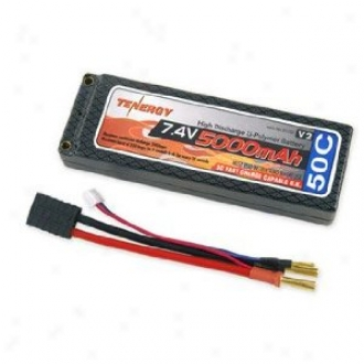 Tenergy 7.4v 5000mah 50c Lipo Hard Case Battery Pack W/ Traxxas Connector