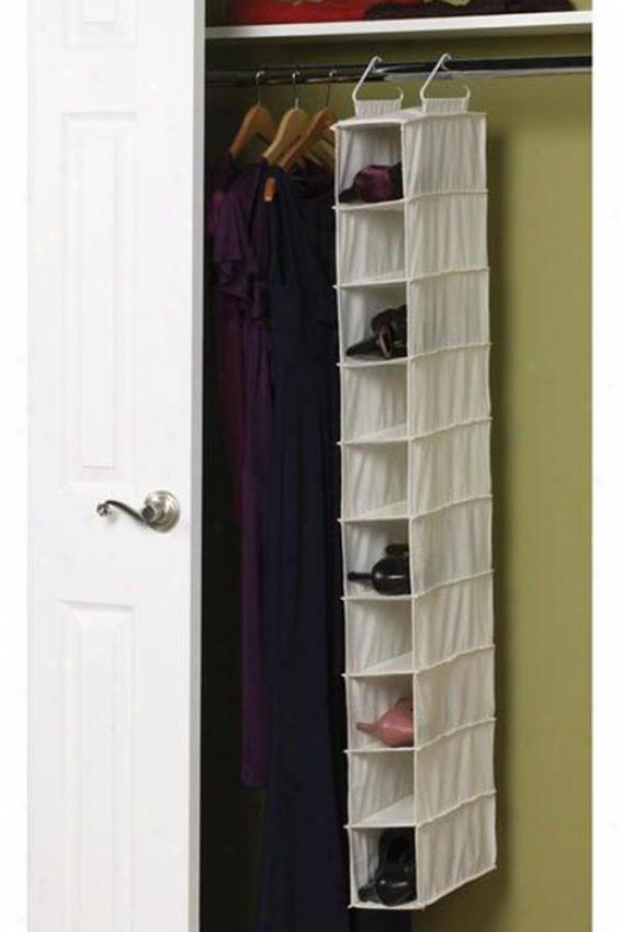 """10-pocket Hanging Shoe Organizer - 50""""hx5""""w, Ivory"""