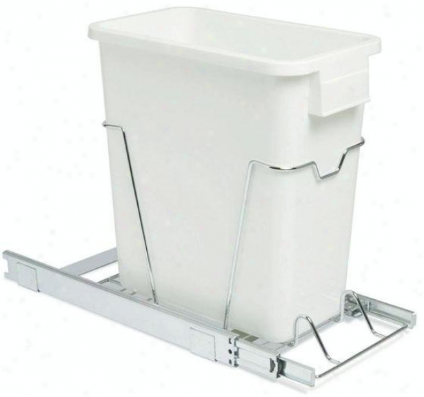 """16"""" Sliding Organizer With 5 Gallon Waste Bin - 16""""hx9.5""""w, White"""