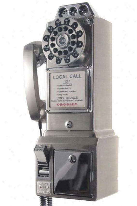 """1950's Pay Phone - 18.25""""hx9""""w, Silver Chrome"""