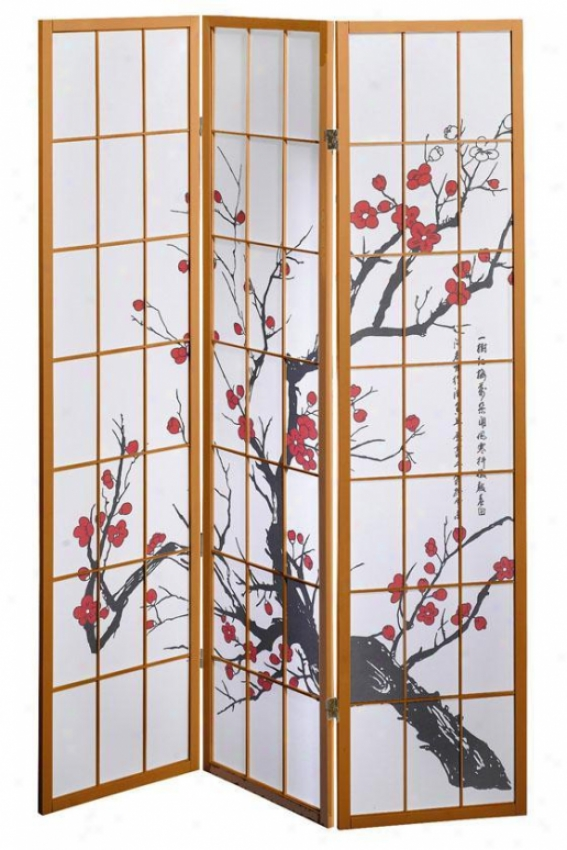 3-panel Cherry Blossom Design Room Divider - 3-panel, Tan