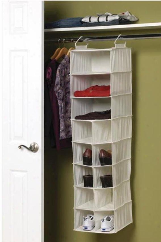 """""""3-shelf 10-pocket Organizer - 46.5""""""""hx12""""""""w, Ivory"""""""