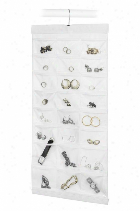 """48-pocket Jewelry File - 29""""hx14""""wx1""""d, White"""