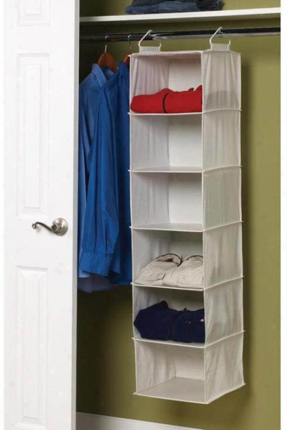 """""""6-shelf Sweater Organizer - 50""""""""hx12""""""""w, Ivory"""""""