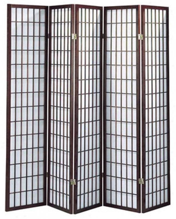 """71"""" 5-panel Classic Room Divider - 5-panei 71""""h, Brick Red"""