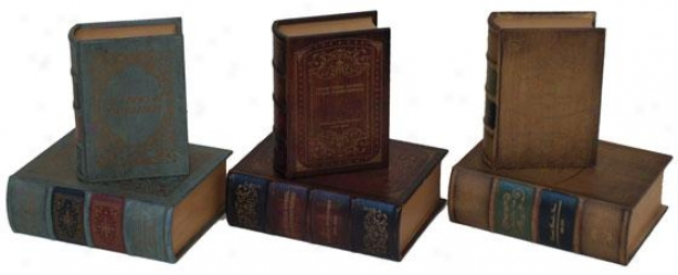 """7""""w Book Box - Set Of Two, Assorted"""