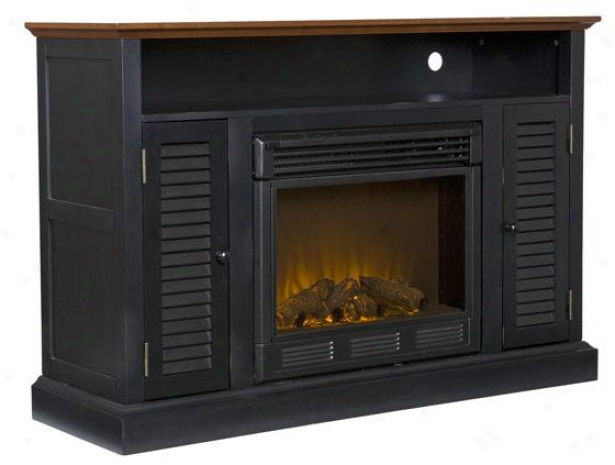 """adam Media Fireplace - 48""""wx32""""hx15""""d, Black Waonut"""