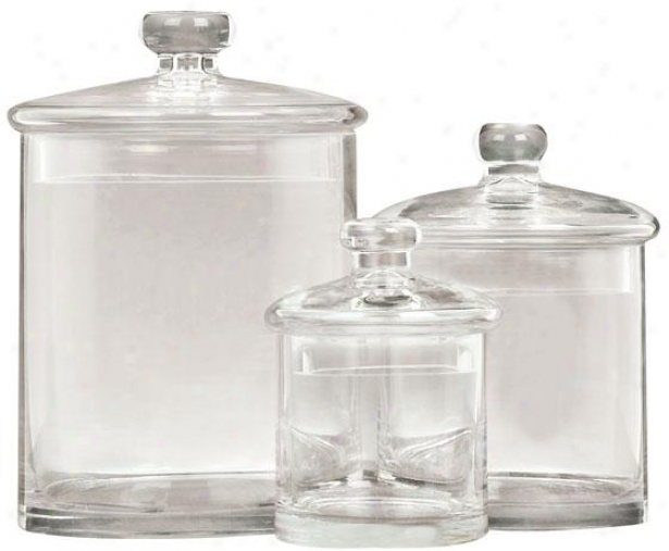 """ad3lle Jar - Set Of 3 - S/3 9"""",7"""",5""""h, Clear Glass"""
