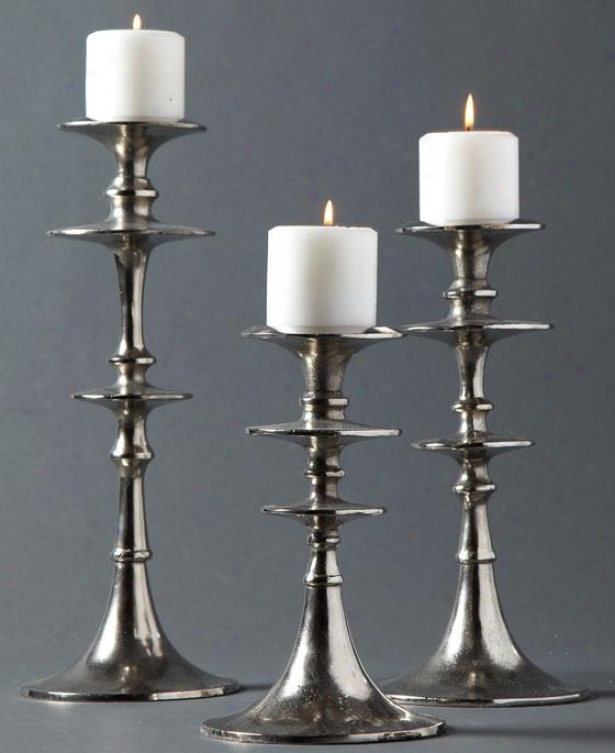 Aladdin Candlesticks - Group Of 3 - Set Of Three, Silver