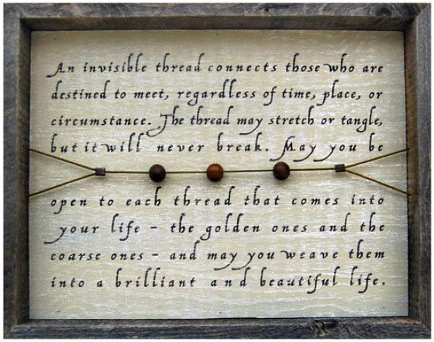 """an Invisible Thread Wooden Sign - 19 X 15"""", Washed Blue"""
