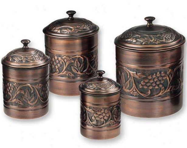 Antique Heritage Embossed Canisters - Set Of 4 - Set Of Four, Copper