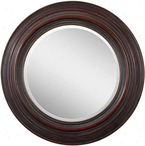 """anton Mirror - 35""""diameter, Deep Mahogany"""
