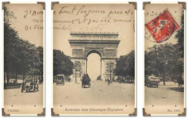 """arc De Triumphe Champs Elysees Wall Art - 23""""h X 36""""w, Cream/black"""