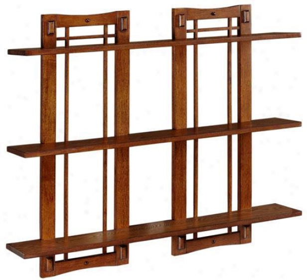 Artisan Double Open-panel Wall Shelf - Double 3-shelf, Tan Wood