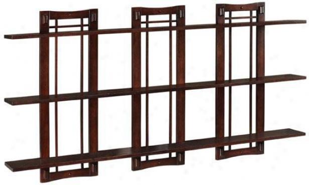 Artisan Triple Open-panel Wall Shelf - Triple 3-shelf, Tan Wood