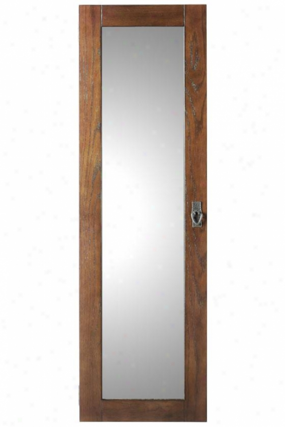 """artisan Wall Mount Jewels Armoire With Mirror - 48.5hx14.5wx4d"""", Brown"""