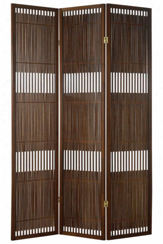 Ashville Folding Screen - 70hx52wx1d, Brown Wood