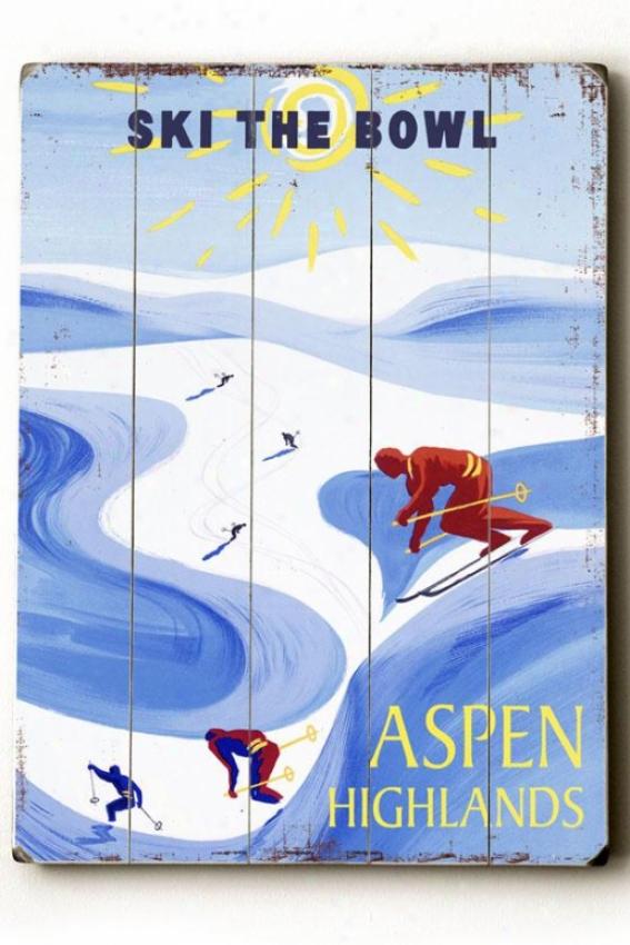 """""""aspen Highlands Wooden Sigh - 20""""""""h X 14""""""""w, Blue"""""""