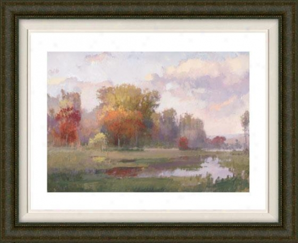 """atuumn Cove Framed Wall Art - 32""""hx40""""w, Fltd Burlwood"""