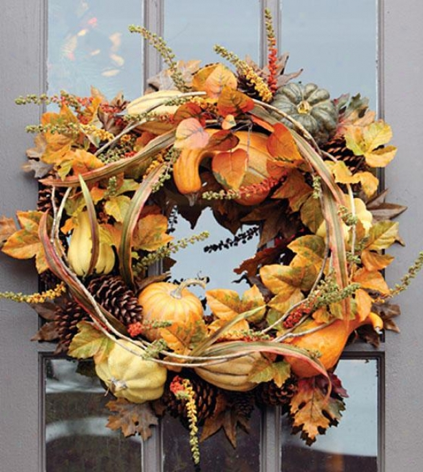 """autumn Assemblage Wreath - Wreath 24""""d, Orange"""