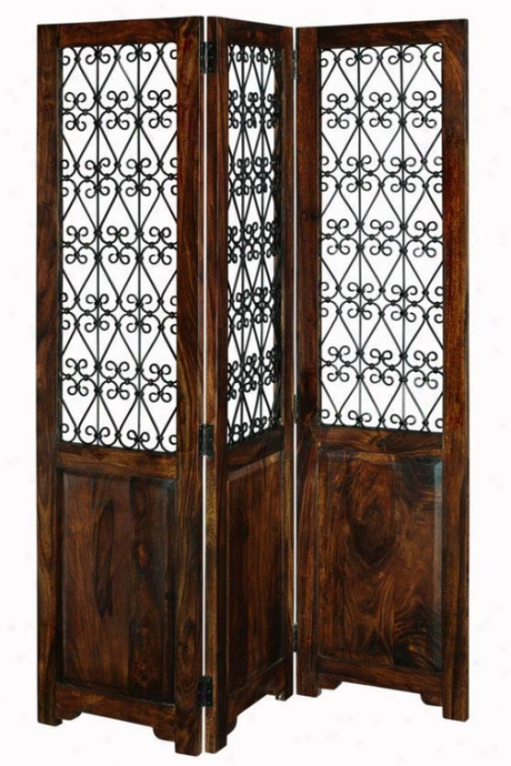 """ayanna Room Divider - 72""""nx56""""a, Brown Wood"""