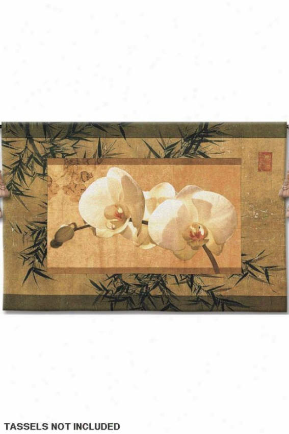 """bamboo And Orchids I Tapestry - 26""""hx39""""w, Multi"""