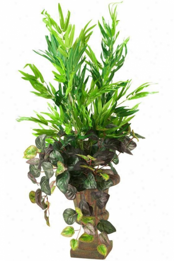 """bamboo Foam And Oxalis Ivy In Urn - 32""""hx20""""w, Green"""