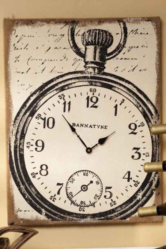 """anntyne Canvas Wall Clock - 23 X 17 X2""""d, Cream/black"""