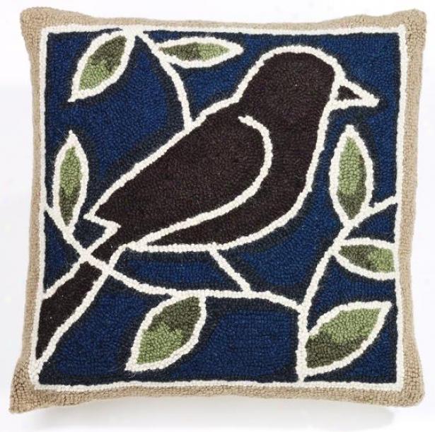 """""""bird Hook Pillow - 18"""""""" Pillow, Blue Green Brow"""""""